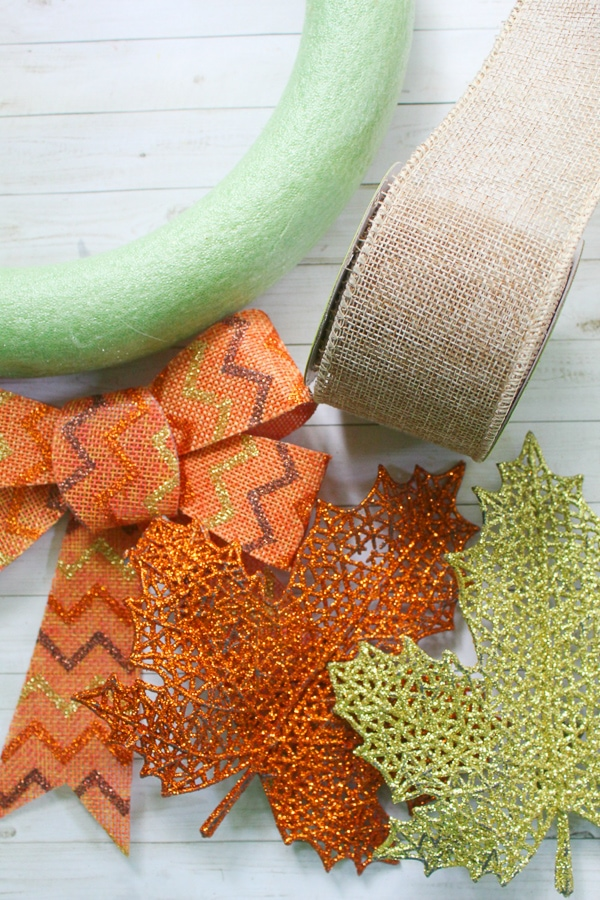 DIY dollar store fall wreath supplies