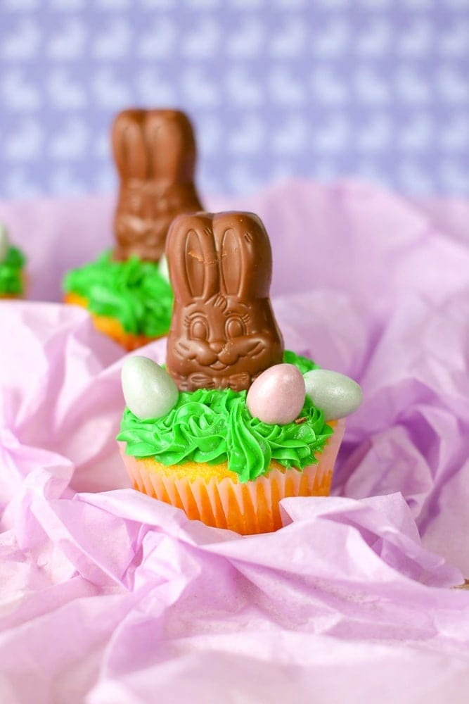 Cute Chocolate Easter Bunny Cupcakes. These are so easy to make but look so stinking cute!