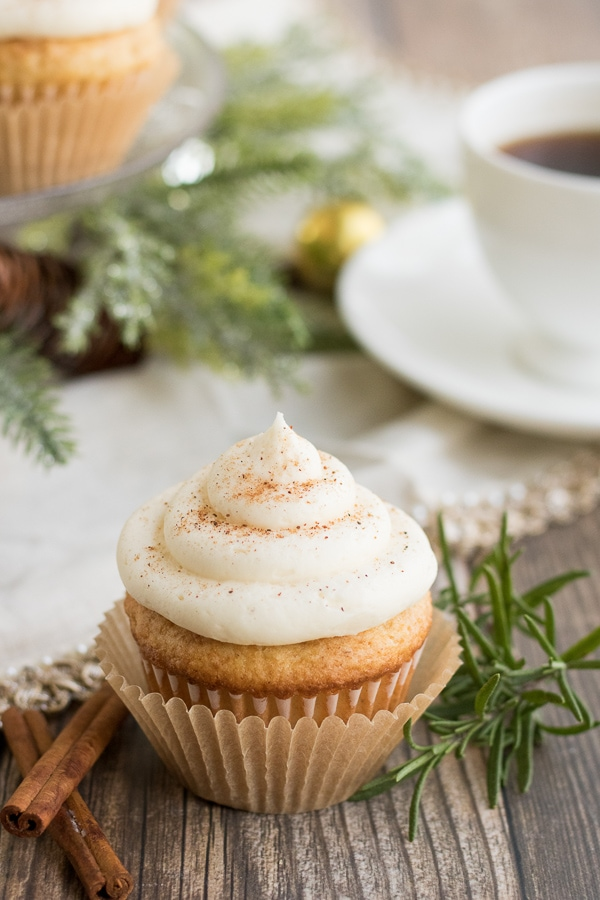 eggnog cupcakes with buttercream frosting