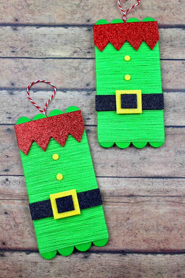 Elf Popsicle stick craft for kids
