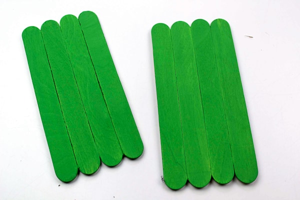 popsicle sticks glued together and pained green for elf craft