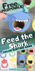 Feed the shark game with text overlay reading feed the shark color sorting game
