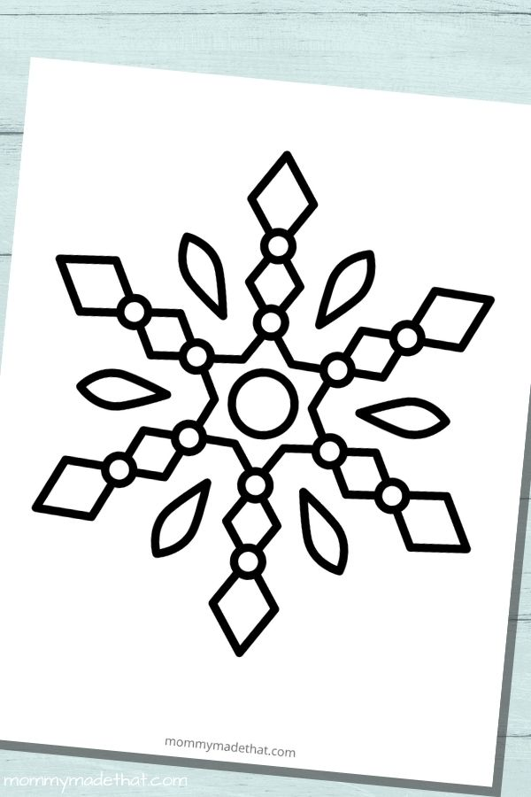 Large snowflake template for coloring page