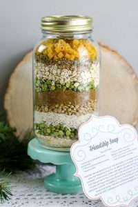 layered friendship soup mix in a jar