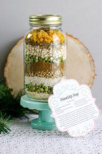 Frienship soup recipe in a large jar