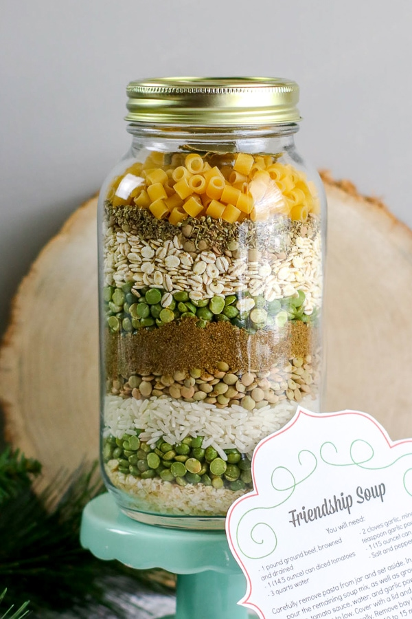 friendship soup mix in a mason jar Christmas gift