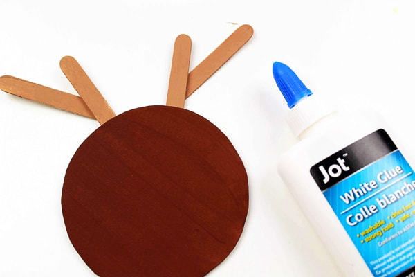 gluing antlers on rudolph ornament craft