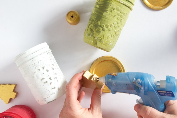 gluing Christmas tree to mason jar lid