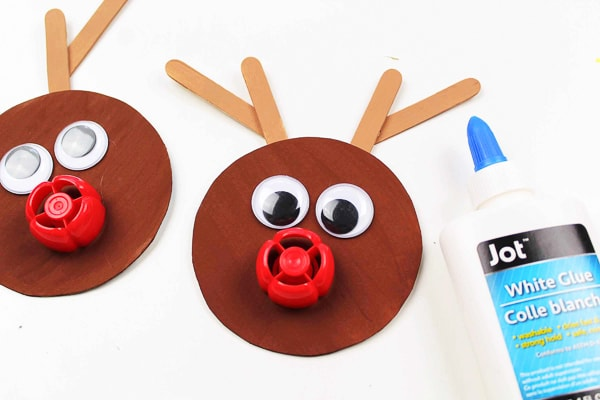 gluing nose rudolph ornament craft