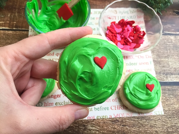 Grinch heart sugar cookies
