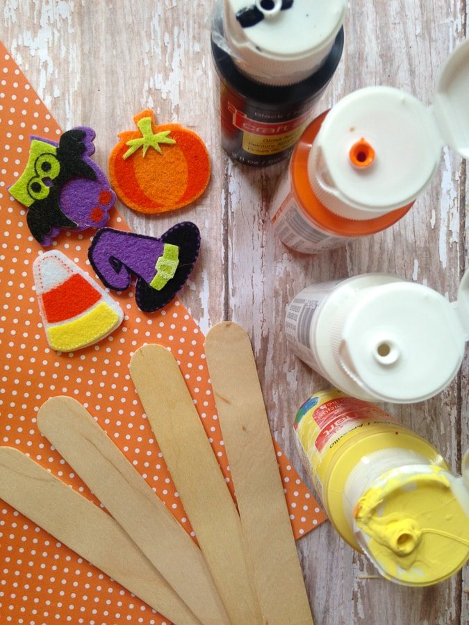 Popsicle stick Halloween bookmarks