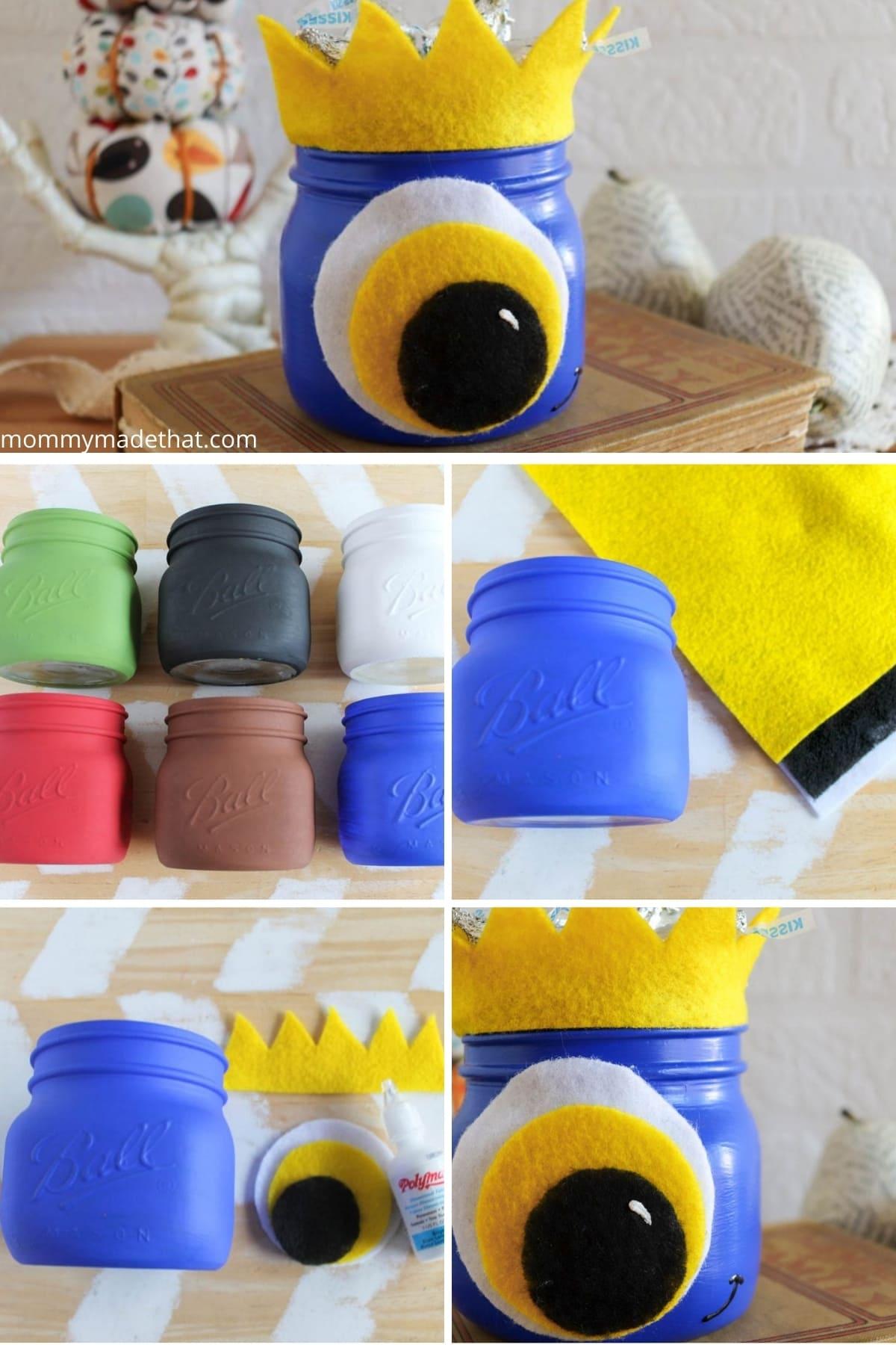 Halloween mason jar craft, making a monster