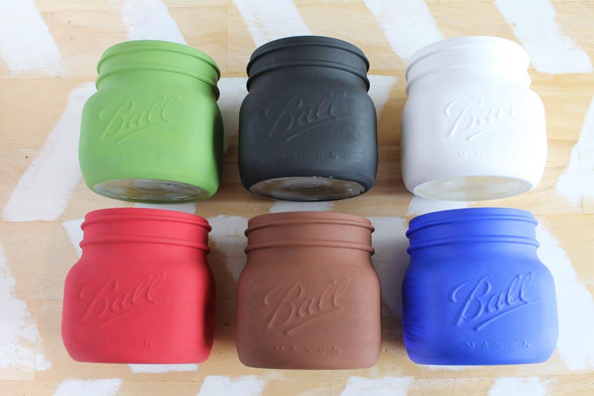 painted mason jars ready to create mason jar monsters for halloween