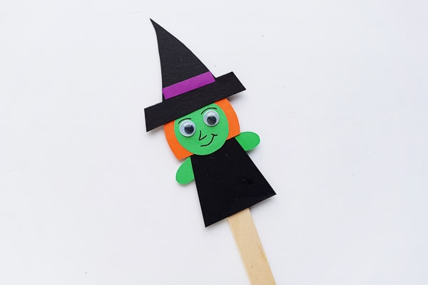 paper halloween witch puppet on Popsicle stick
