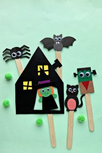 Cute halloween puppets on popsicle sticks