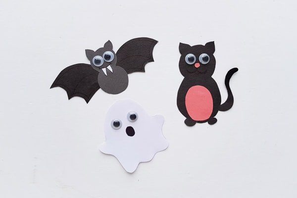 paper bat, ghost and cat puppets for halloween