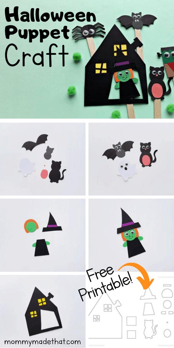 DIY Halloween printable puppets kids craft