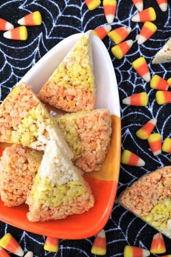 candy corn halloween themed rice krispie treat recipe