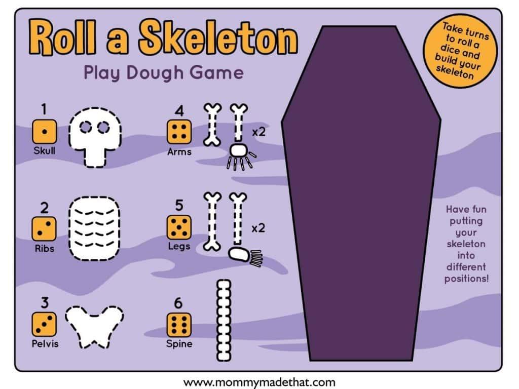 halloween skeleton game printable play dough mat