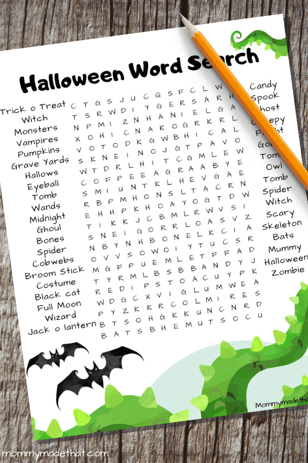 Adult halloween word search
