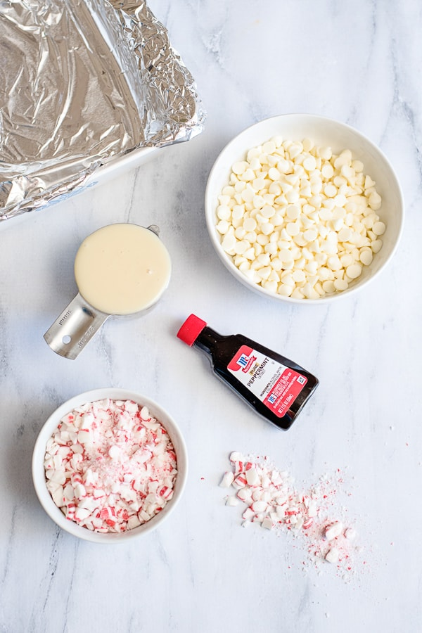 Supplies needed to make peppermint fudge