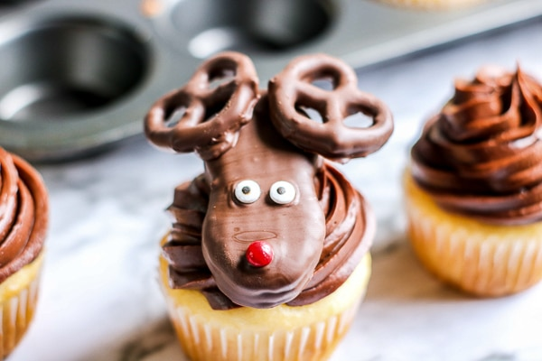 Rudolph cupcakes in front of cupcake pan