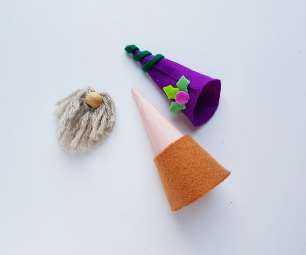 assembling felt gnome craft pieces