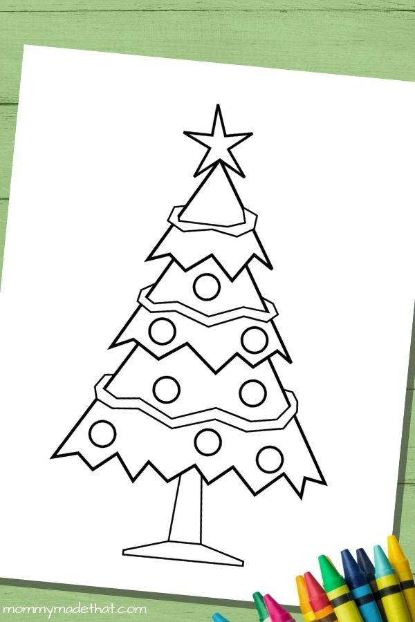 Christmas tree shape coloring page printable