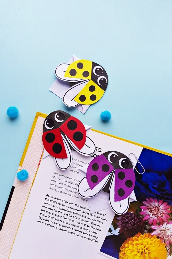 Ladybug bookmark craft for kids
