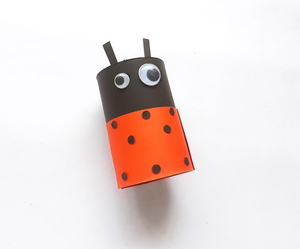 Ladybug made from toilet paper roll