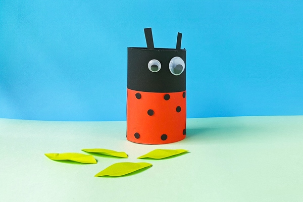 Ladybug craft made from toilet paper roll