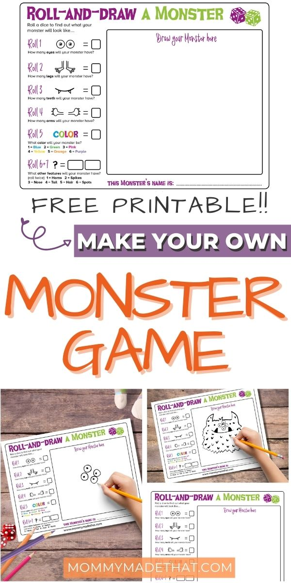 Build your own monster game for kids, free printable