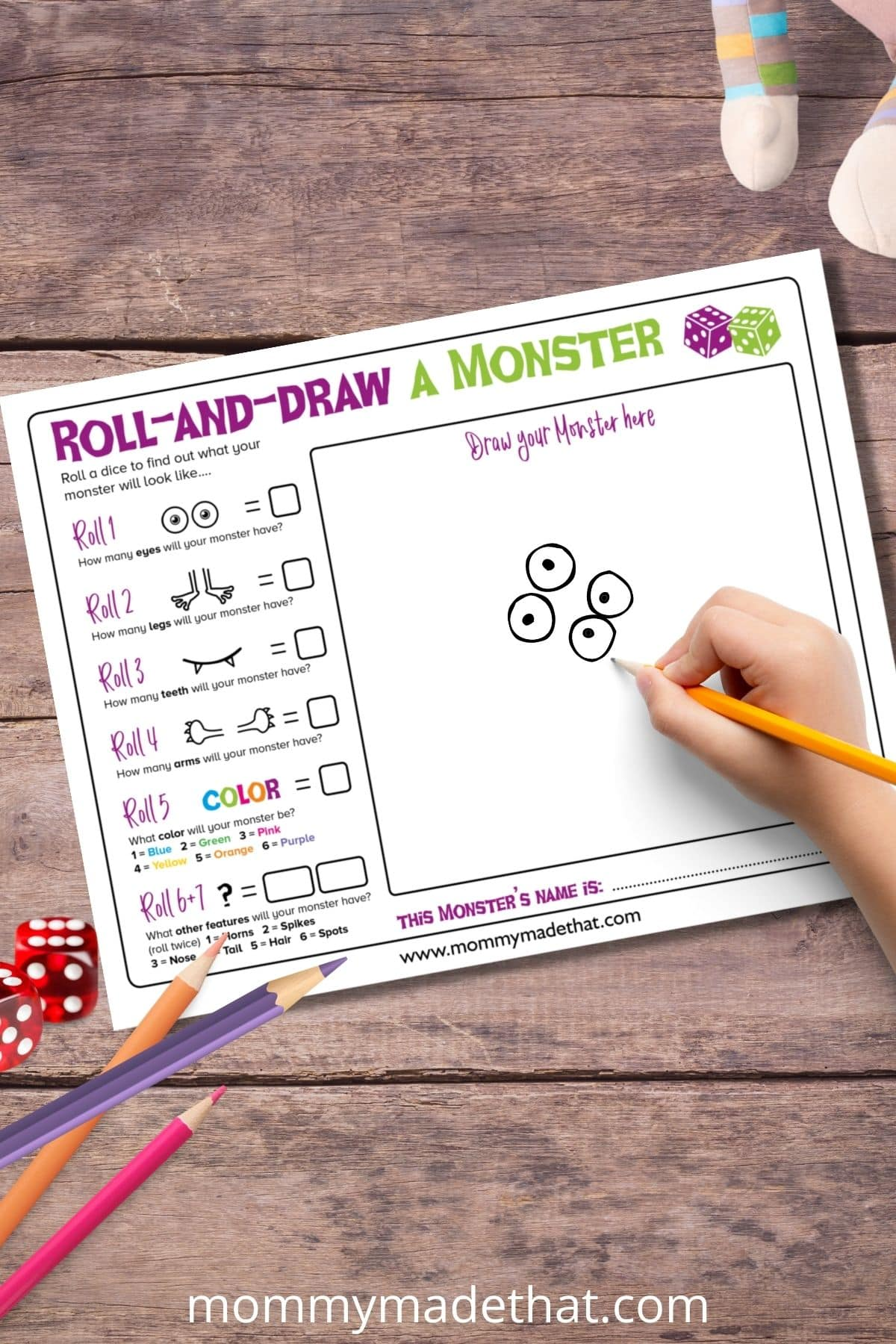 Make your own monster game printable for kids