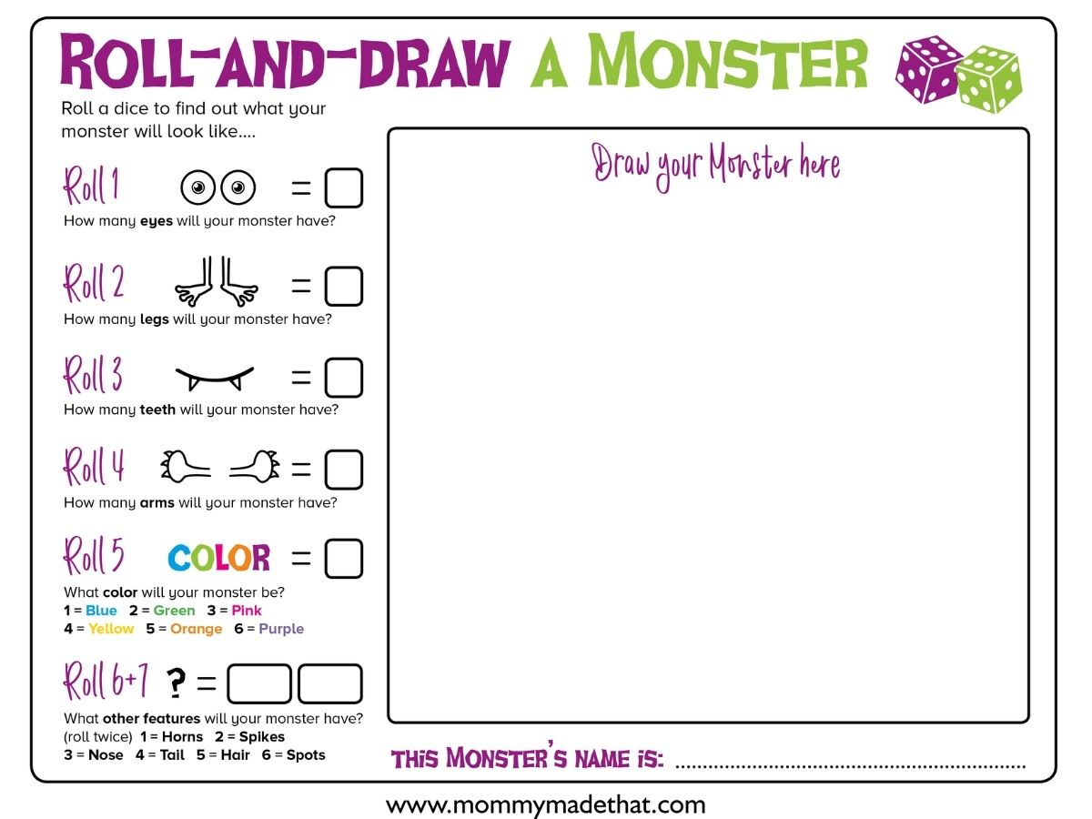 Make your own monster game printable. This free printable is perfect for building your own monster.