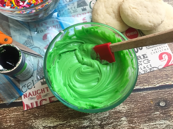 making easy grinch cookies
