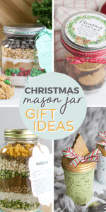 "Image of mason jar gifts with text overlay saying""Mason jar gift ideas for christmas"""
