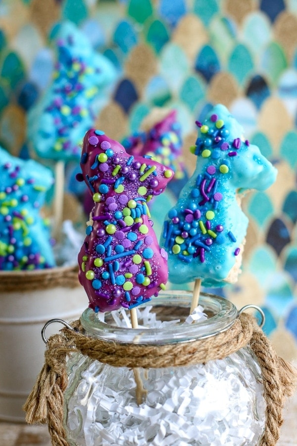 mermaid rice krispie treats in a fish bowl