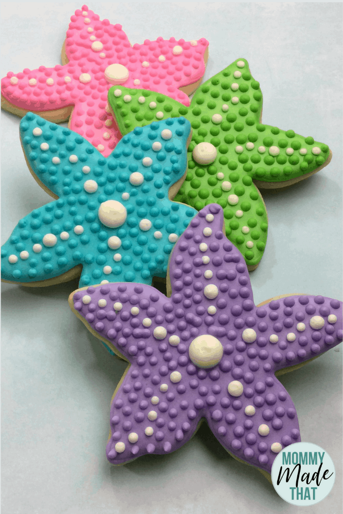 Mermaid starfish cookies using royal icing and delicious sugar cookies.