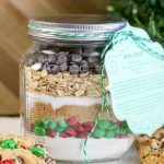 mm cookie mix in a jar gift with printable tag