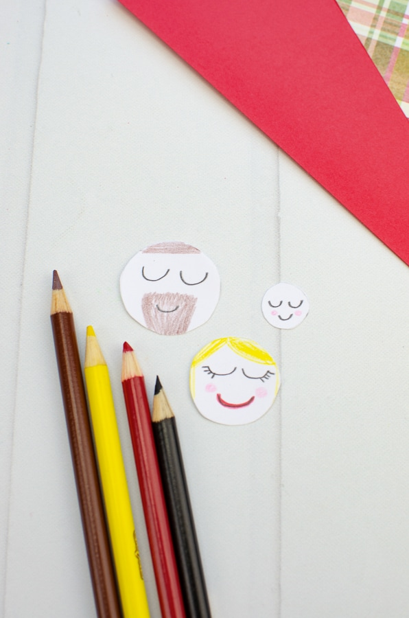 Mary, Joseph and baby Jesus faces for paper craft