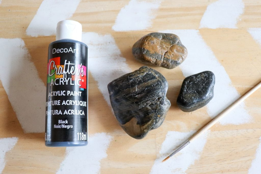 black paint and a few rocks to create painted spider rocks