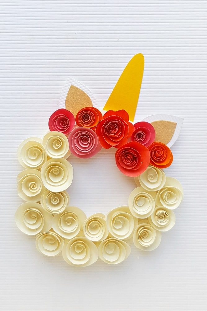 paper flower unicorn wreath