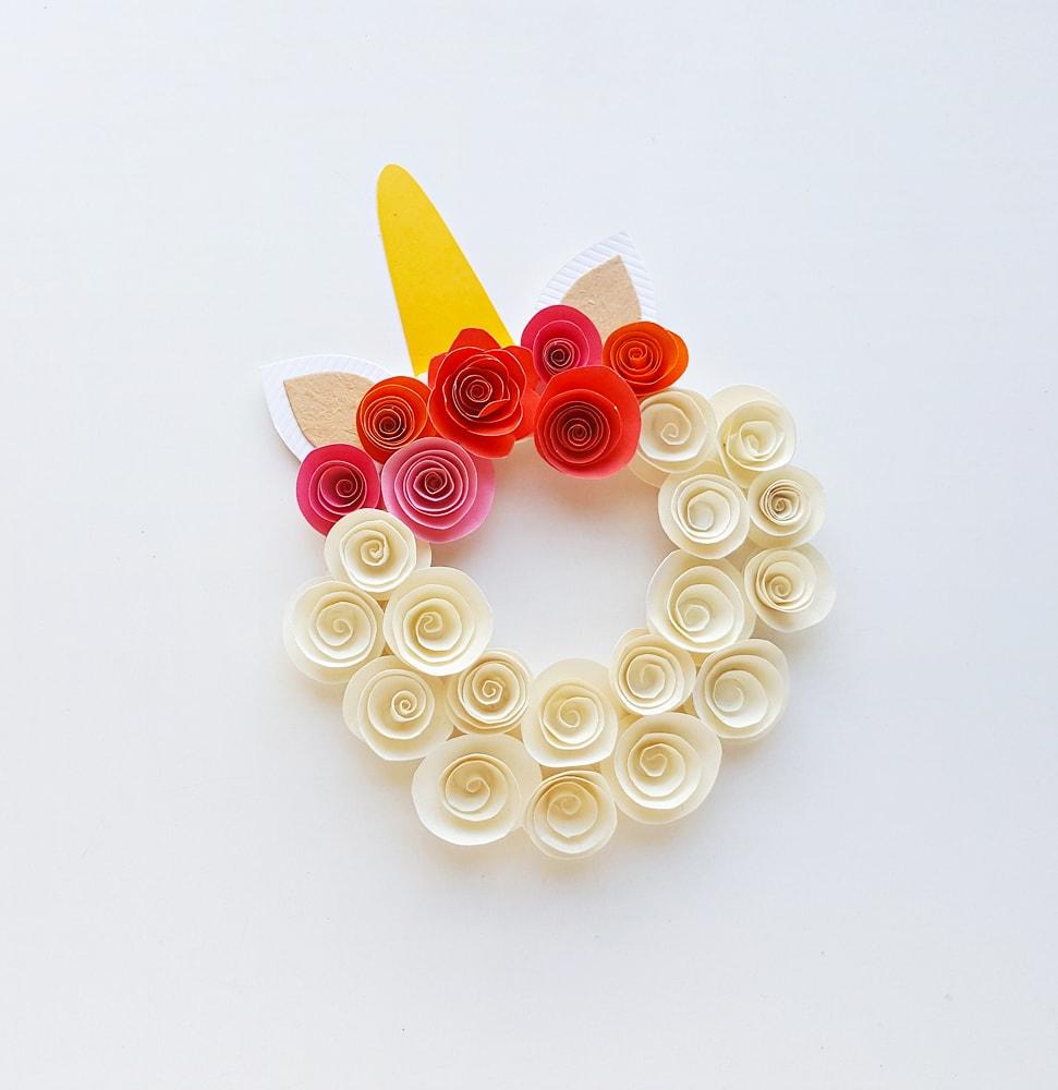 paper flower unicorn wreath