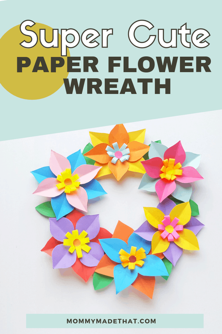 DIY paper flower spring wreath craft