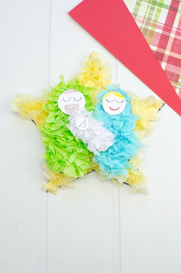Baby jesus crumpled paper craft
