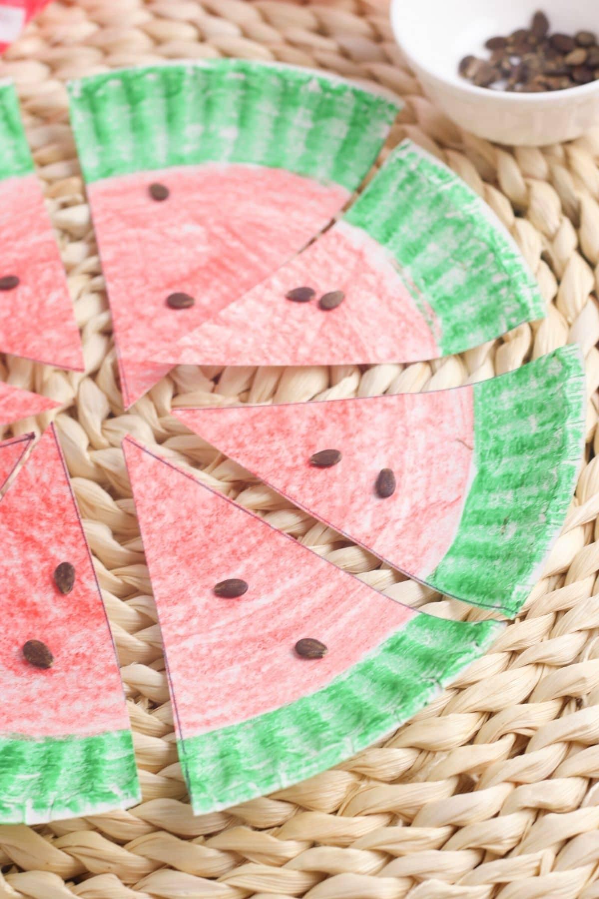 watermelon paper plate craft for preschoolers