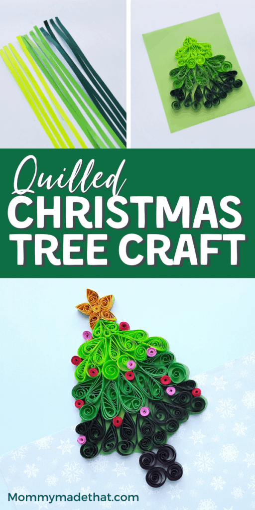Paper quilled Christmas tree craft. A fun quilling design perfect for Christmas! This would make a beautiful handmade card or a fun Christmas tree ornament.