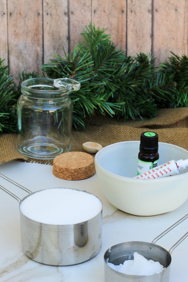 Ingredients laid out on a table for peppermint scrub