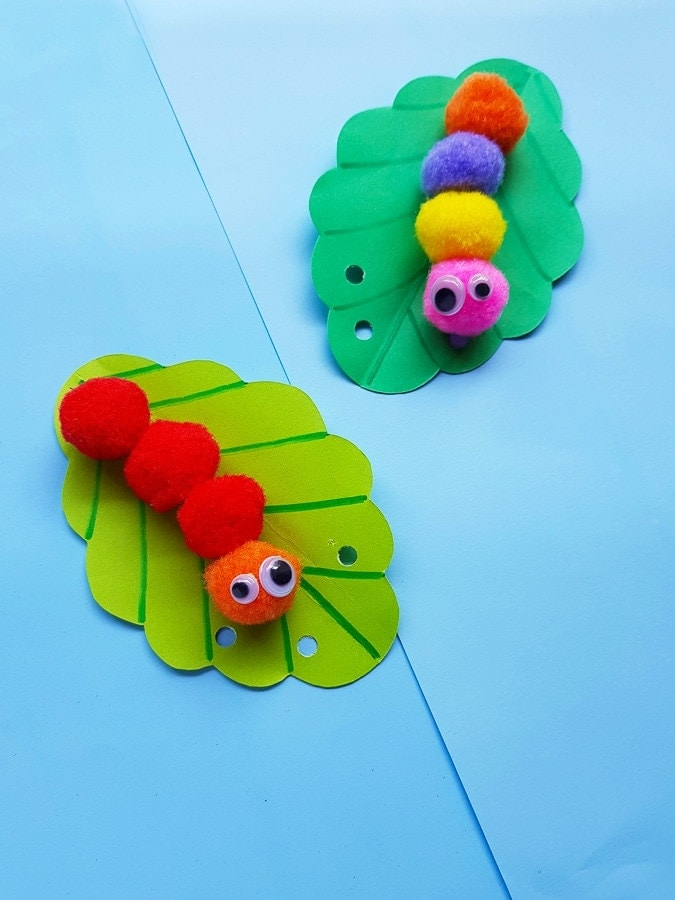 pom pom caterpillar craft