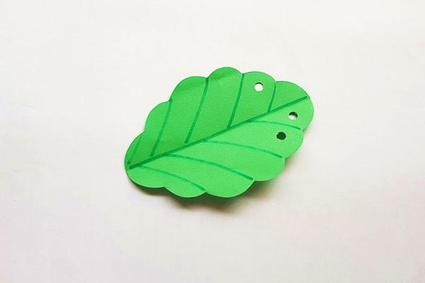 pom pom caterpillar craft leaf